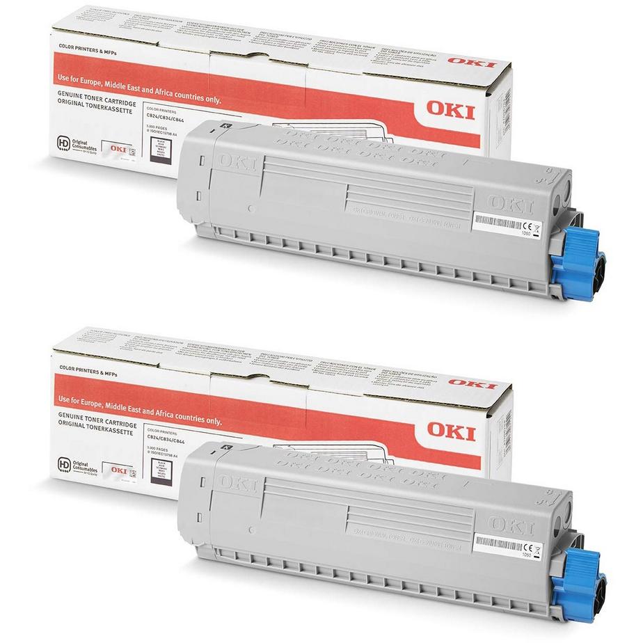 Original Oki 47095704 Black Twin Pack Toner Cartridges (47095704)