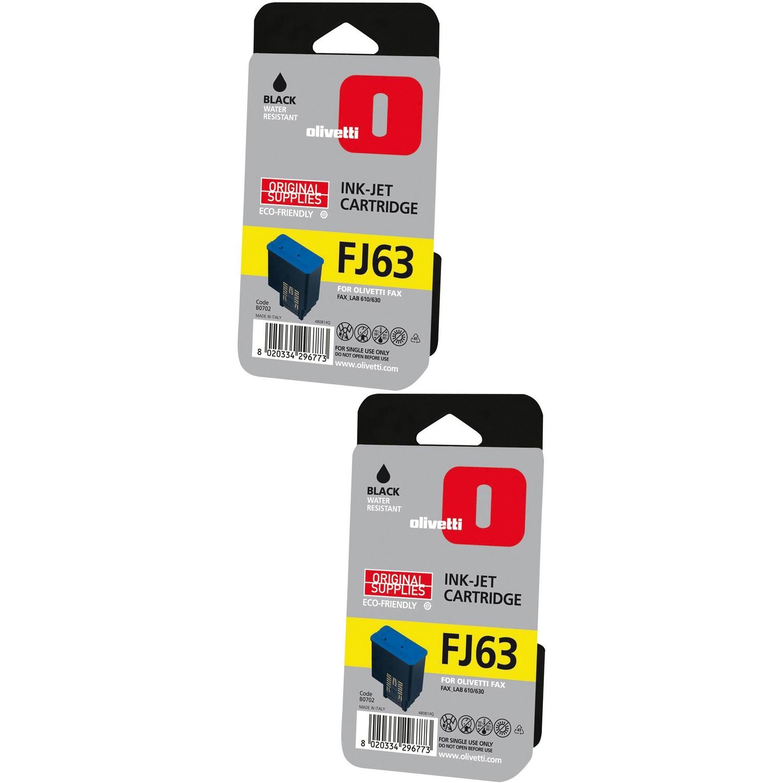 Original Olivetti FJ63 Black Twin Pack Ink Cartridges (B0702)