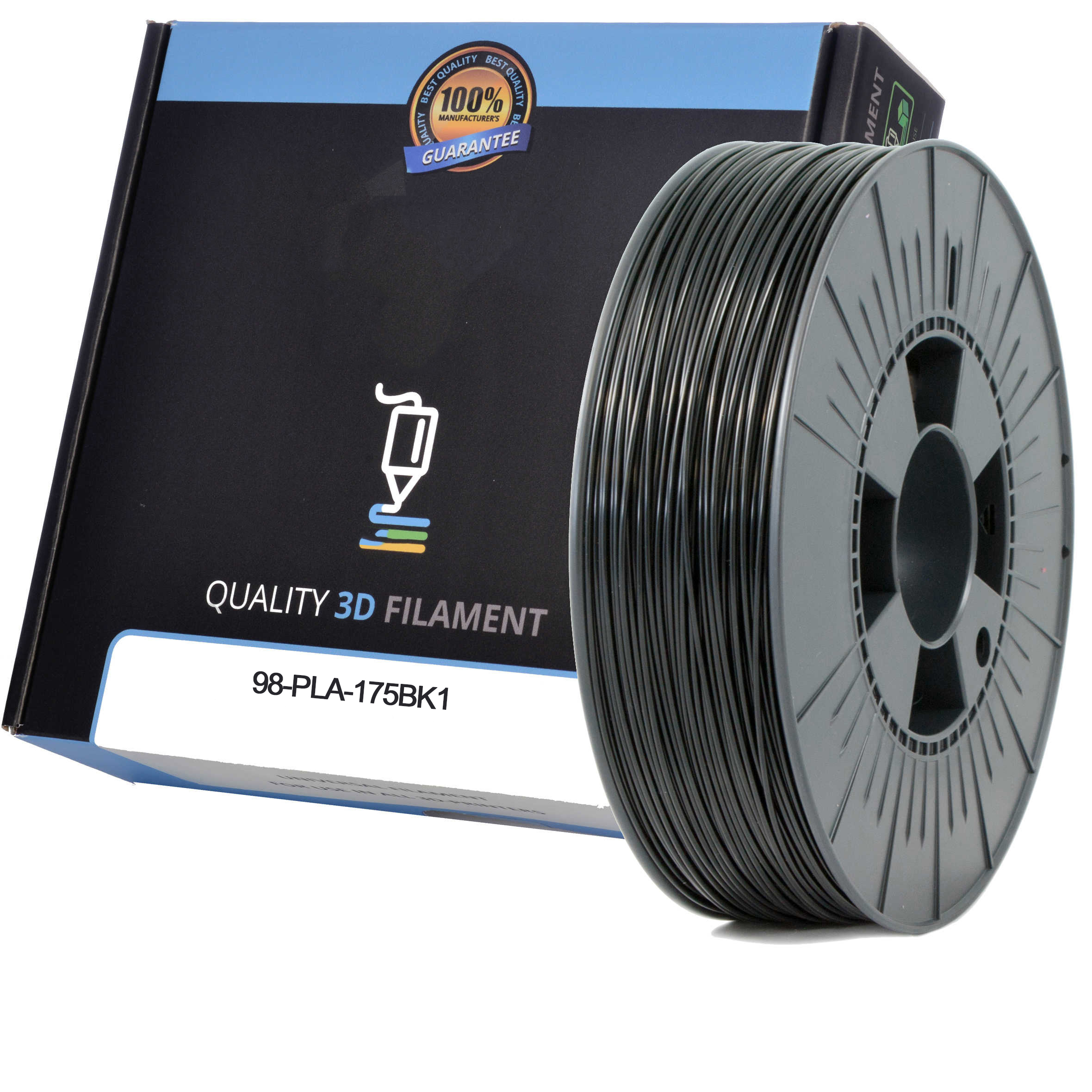 Premium Compatible PLA 1.75mm Black 0.5kg 3D Filament (98-PLA-175BK1)