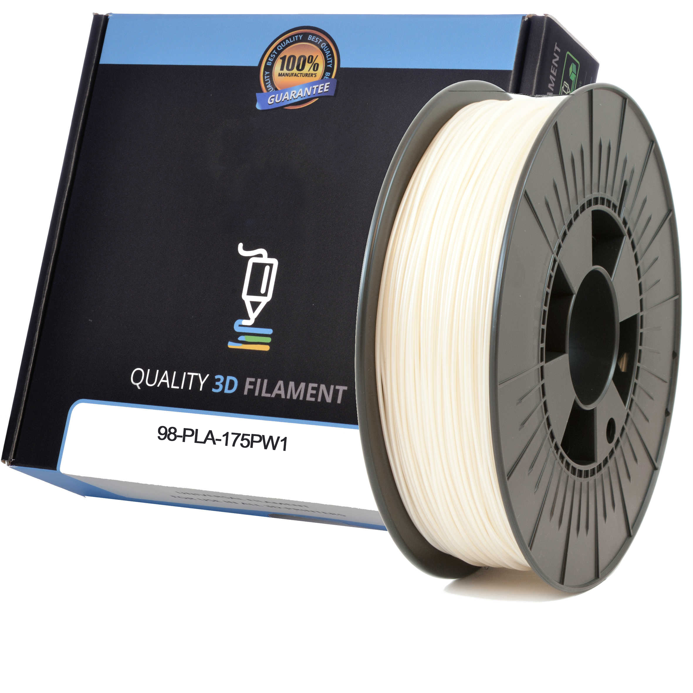 Premium Compatible PLA 1.75mm Pearl White 0.5kg 3D Filament (98-PLA-175PW1)