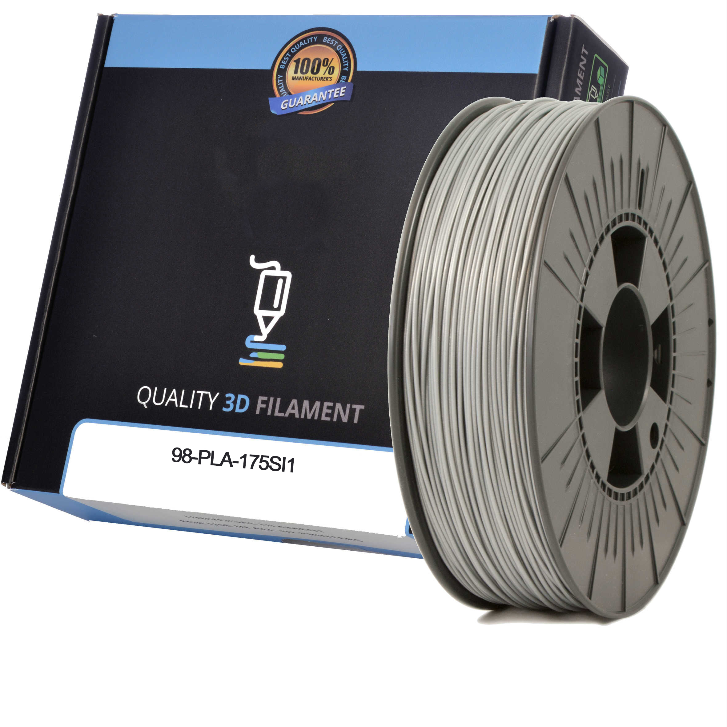 Premium Compatible PLA 1.75mm Silver 0.5kg 3D Filament (98-PLA-175SI1)