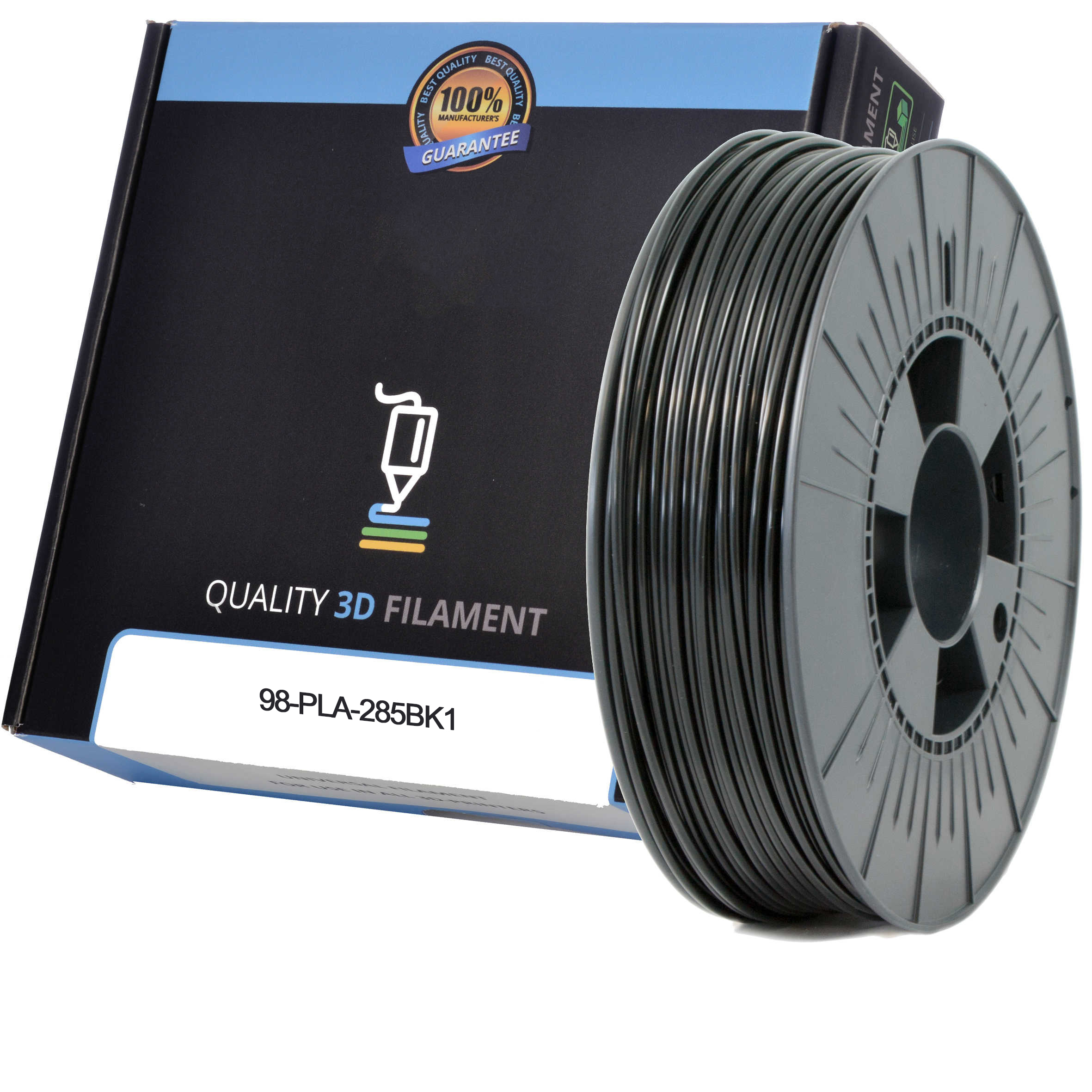 Premium Compatible PLA 2.85mm Black 0.5kg 3D Filament (98-PLA-285BK1)