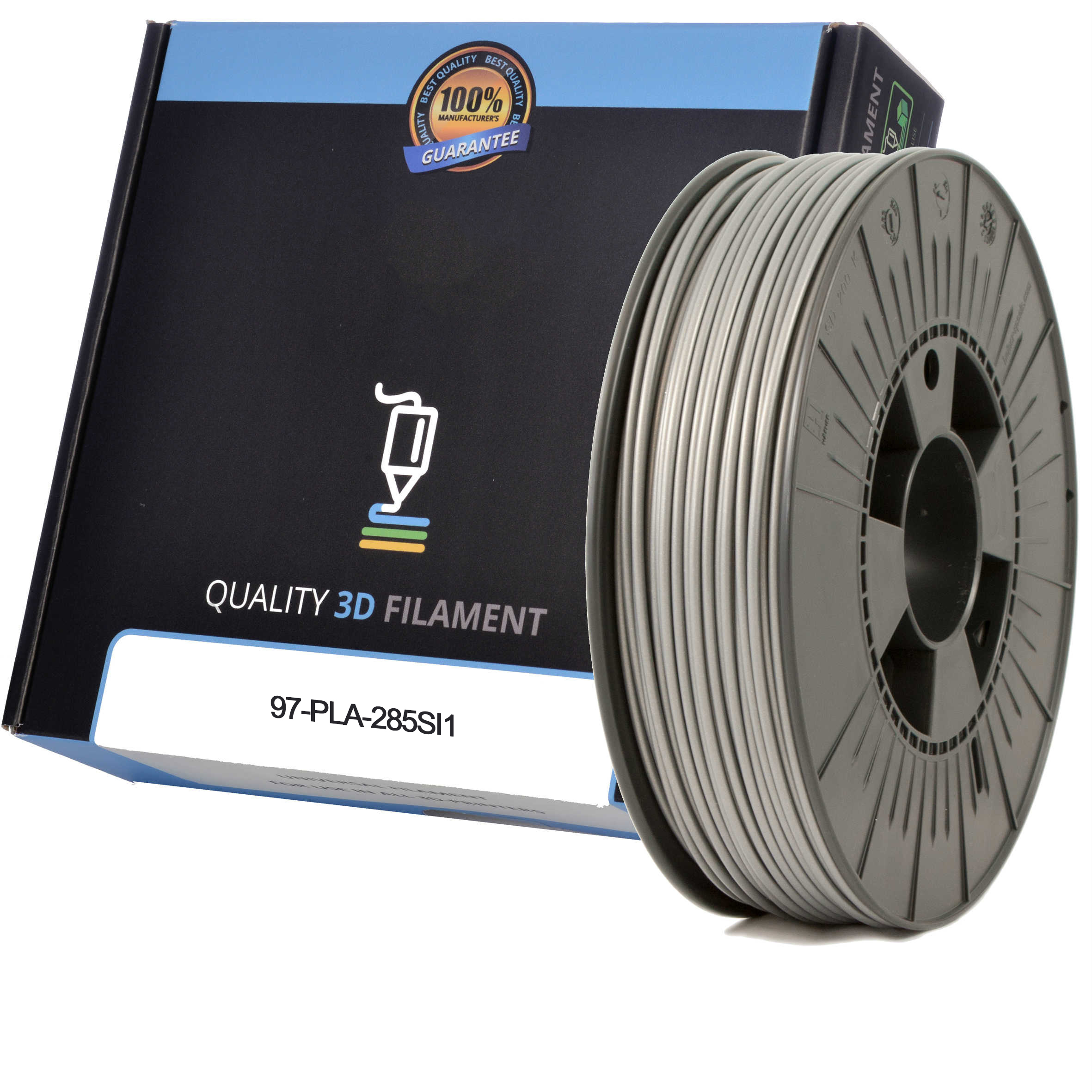 Premium Compatible PLA 2.85mm Silver 1kg 3D Filament (97-PLA-285SI1)