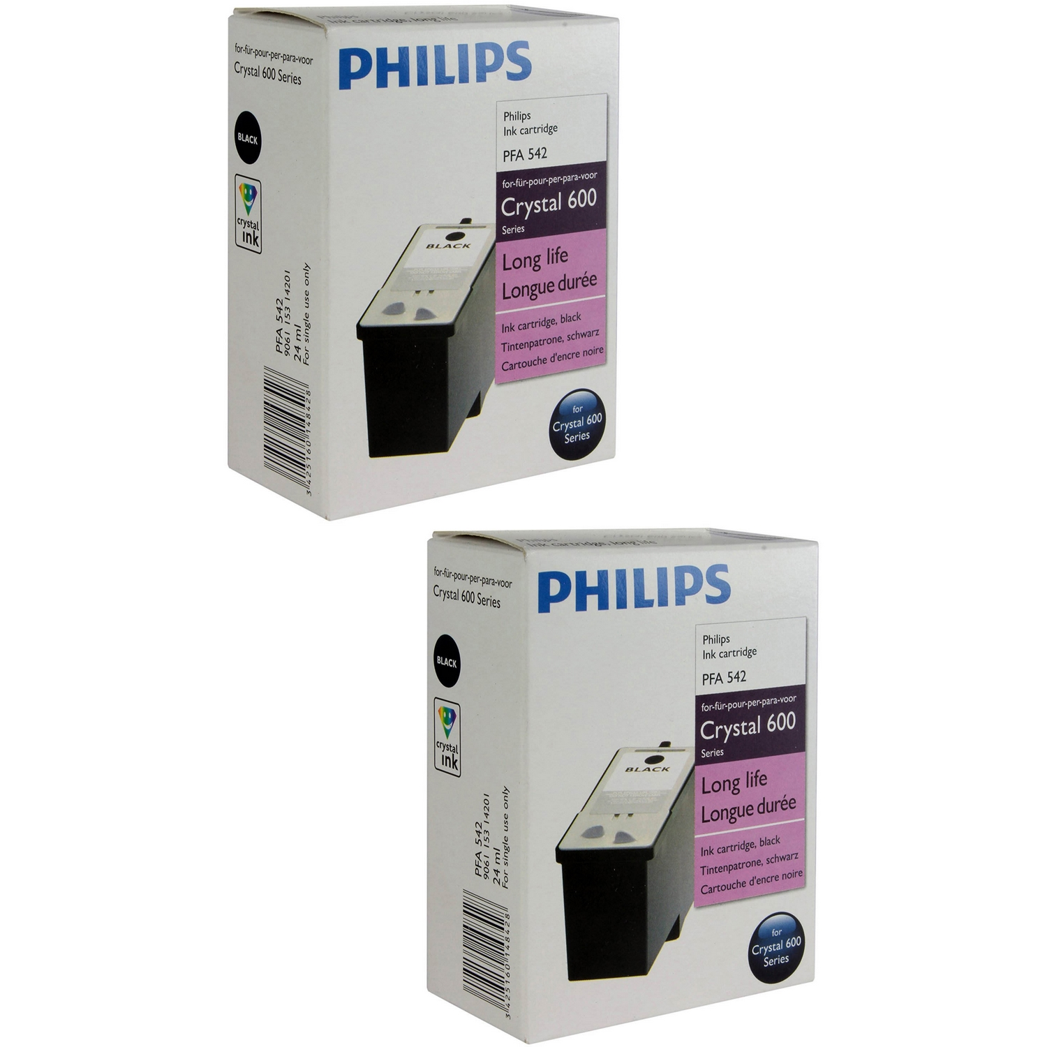 Original Philips 42 Black Twin Pack High Capacity Ink Cartridges (PFA542)