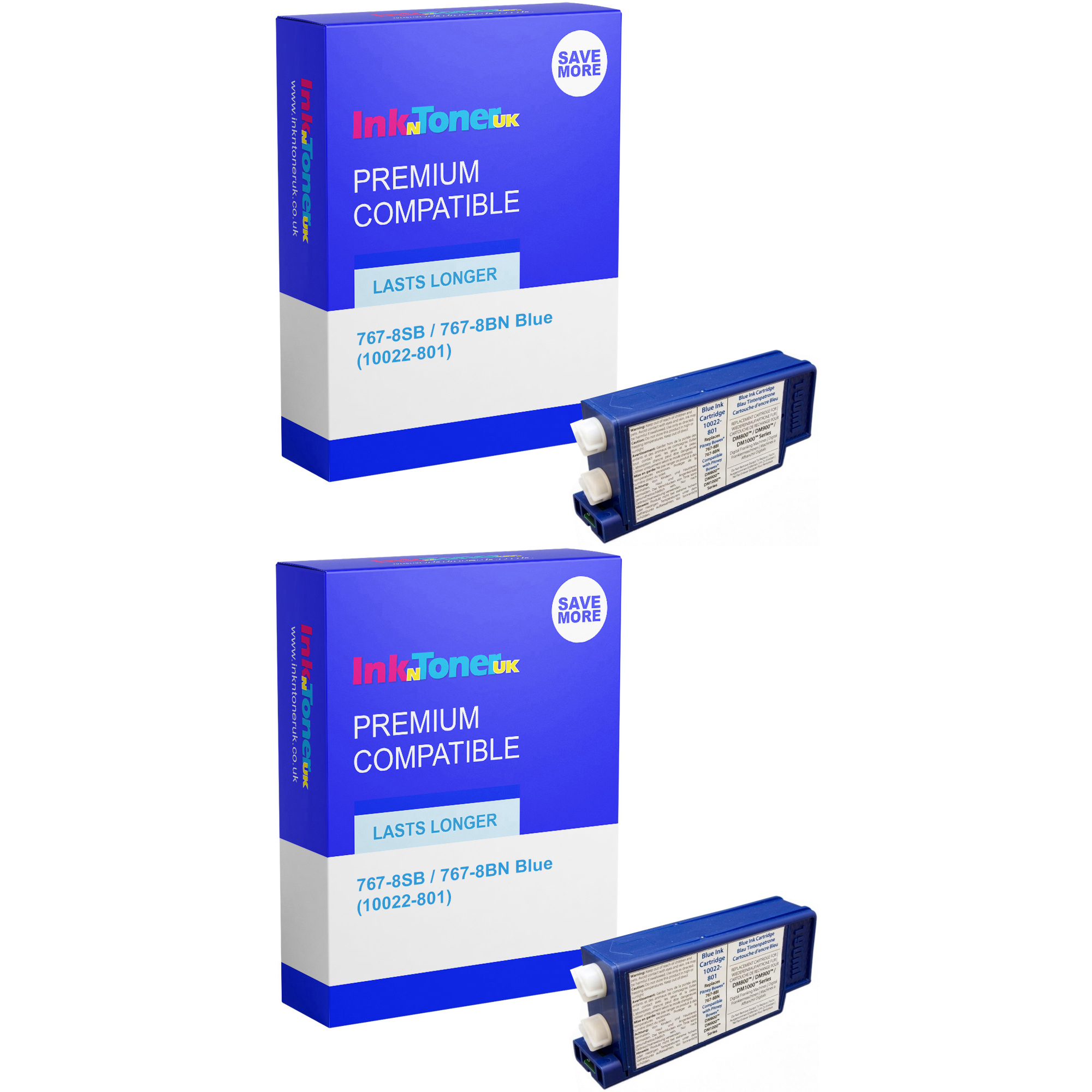 Premium Compatible Pitney Bowes 767-8SB / 767-8BN Blue Twin Pack Franking Ink Cartridges (10022-801)
