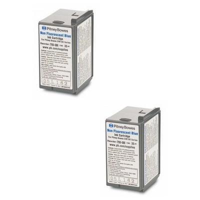 Original Pitney Bowes 793-5SB / 793-5BI Blue Twin Pack Franking Ink Cartridges (10019-801)