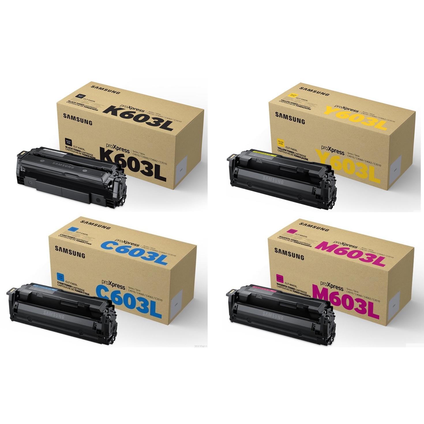 Original Samsung Clt 603l Cmyk Multipack High Capacity Toner Cas Hp Samung Cartridges Su214a Su080a