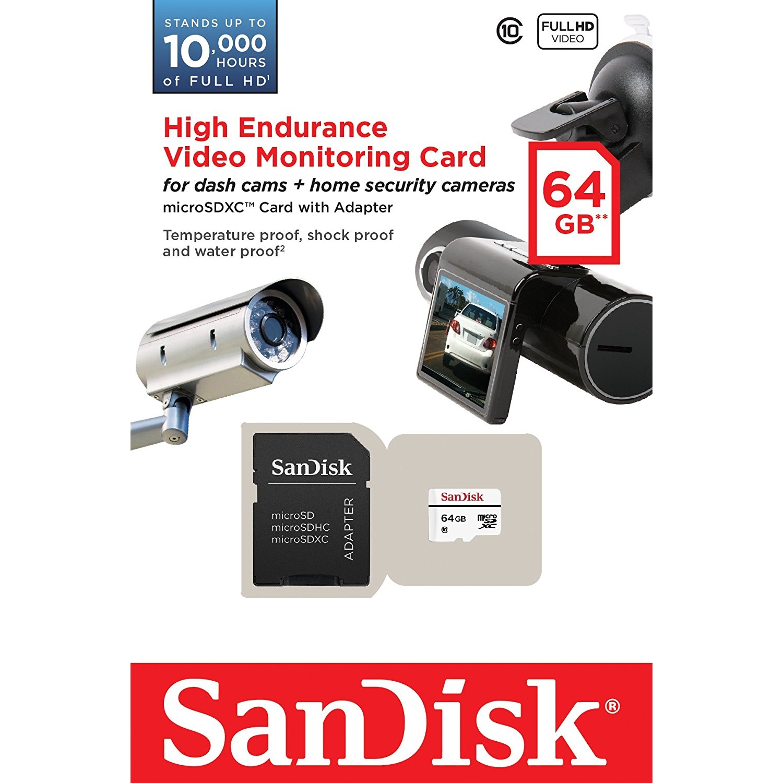 Original SanDisk High Endurance Class 10 64GB Video Monitoring microSDHC Memory Card (SDSDQQ-064G-G46A)