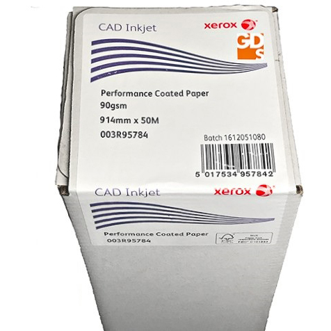 Original Xerox 90gsm 914mm x 50m Performance Coated Inkjet Plotter Paper Roll (003R95784)