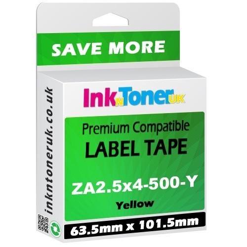 Premium Compatible Zebra 63.5mm x 101.5mm Yellow Shipping Label Roll - 500 Labels (ZA2.5x4-500-Y)