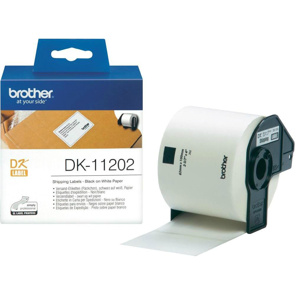 Original Brother DK-11202 Black On White 62mm x 100mm Shipping Label Roll Tape - 300 Labels (DK11202)