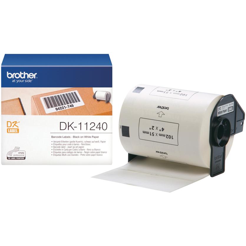 Original Brother DK-11240 Black On White 102mm x 51mm Barcode Label Tape - 600 Labels (DK11240)