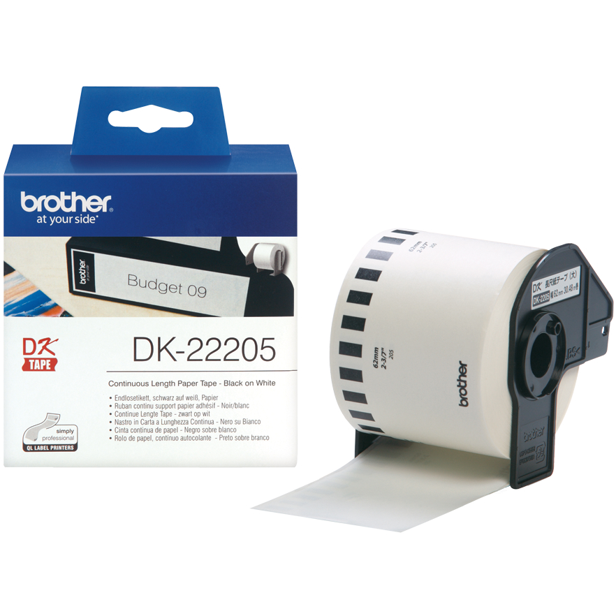 Original Brother DK-22205 Black On White 62mm x 30.48m Continuous Paper Label Roll Tape (DK22205)