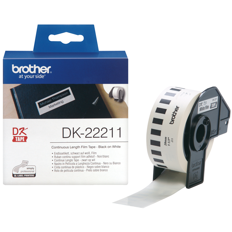 Original Brother DK-22211 Black On White 29mm x 15.24m Continuous White Film Label Tape (DK22211)
