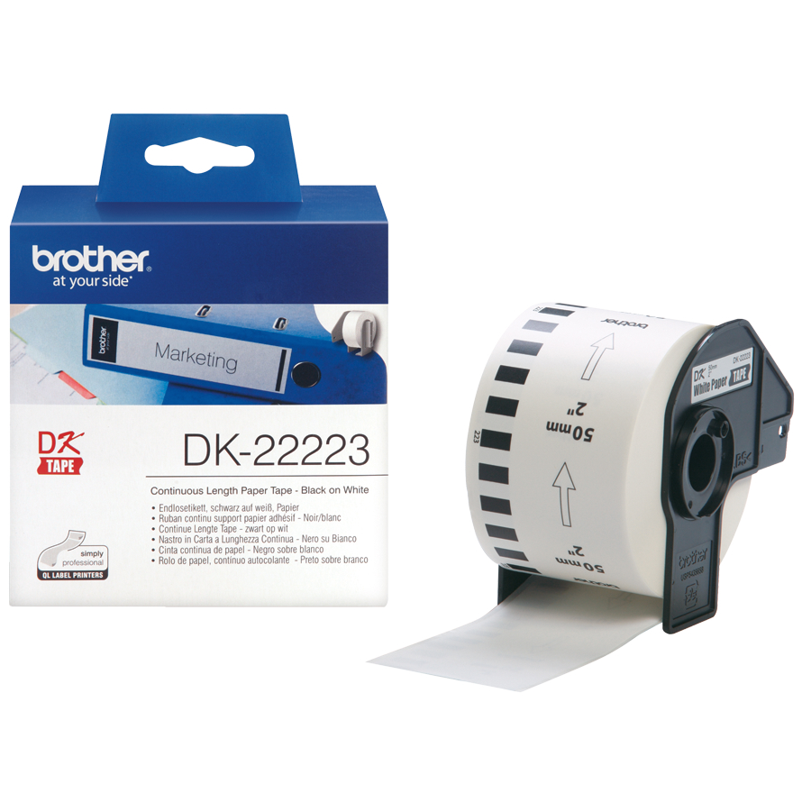 Original Brother DK-22223 Black On White 50mm x 30.48m Continuous Paper Label Tape (DK22223)
