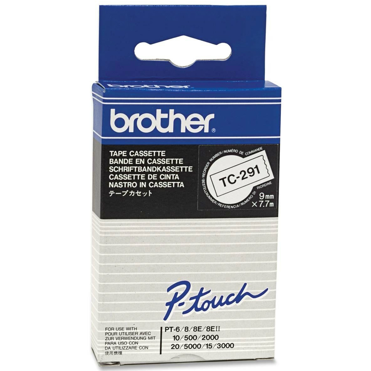 Original Brother TC-291 Black On White 9mm x 7.7m P-Touch Label Tape (TC291)