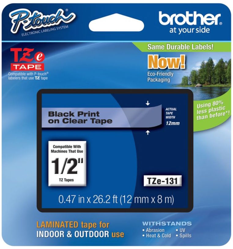 Original Brother TZe-131 Black On Clear 12mm x 8m Laminated P-Touch Label Tape (TZE131)