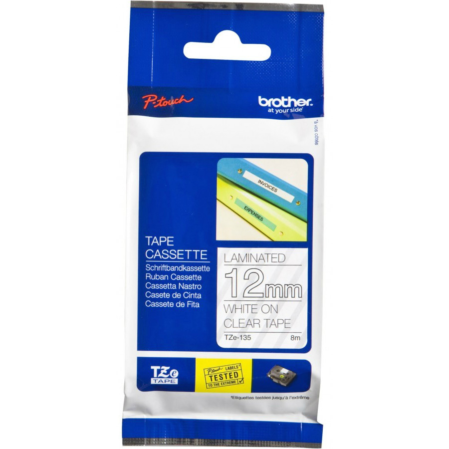 Original Brother TZe-135 White On Clear 12mm x 8m Laminated P-Touch Label Tape (TZE135)