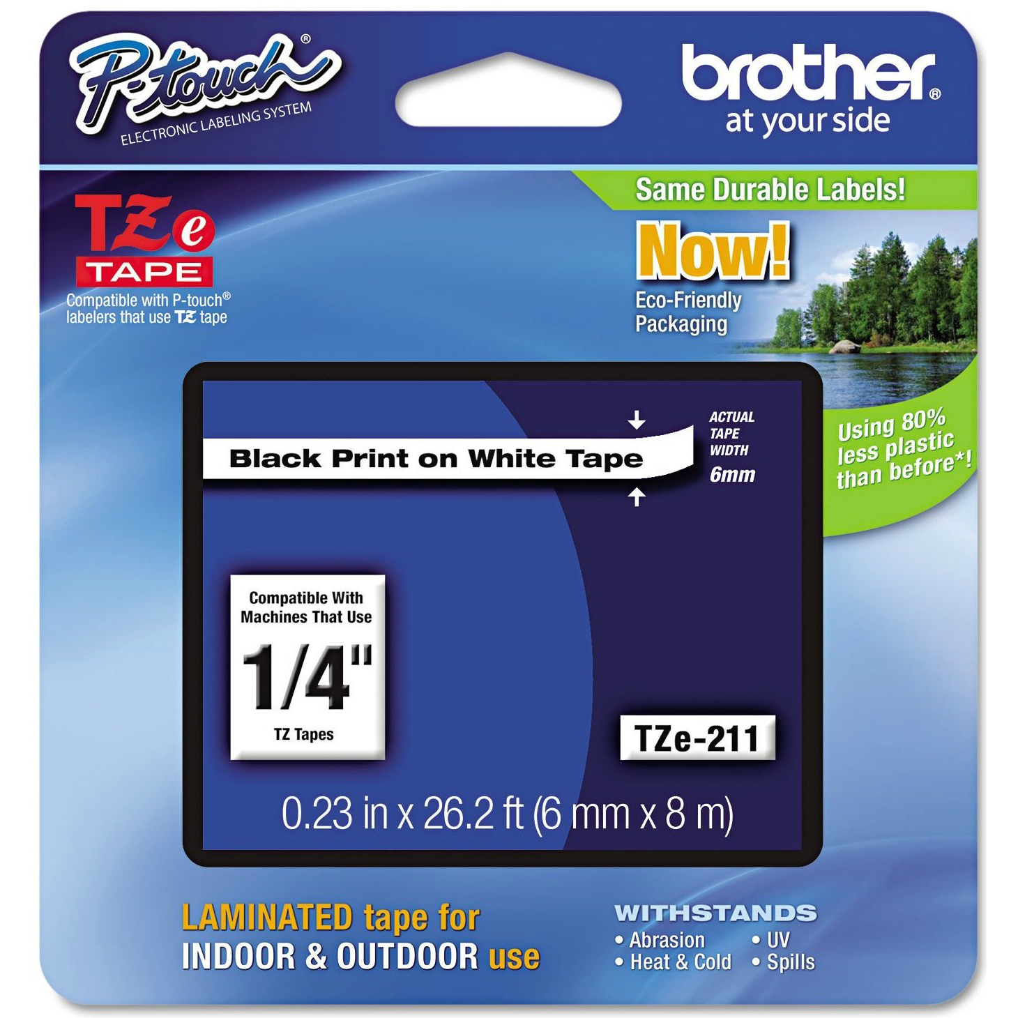 Original Brother TZe-211 Black On White 6mm x 8m Laminated P-Touch Label Tape (TZE211)