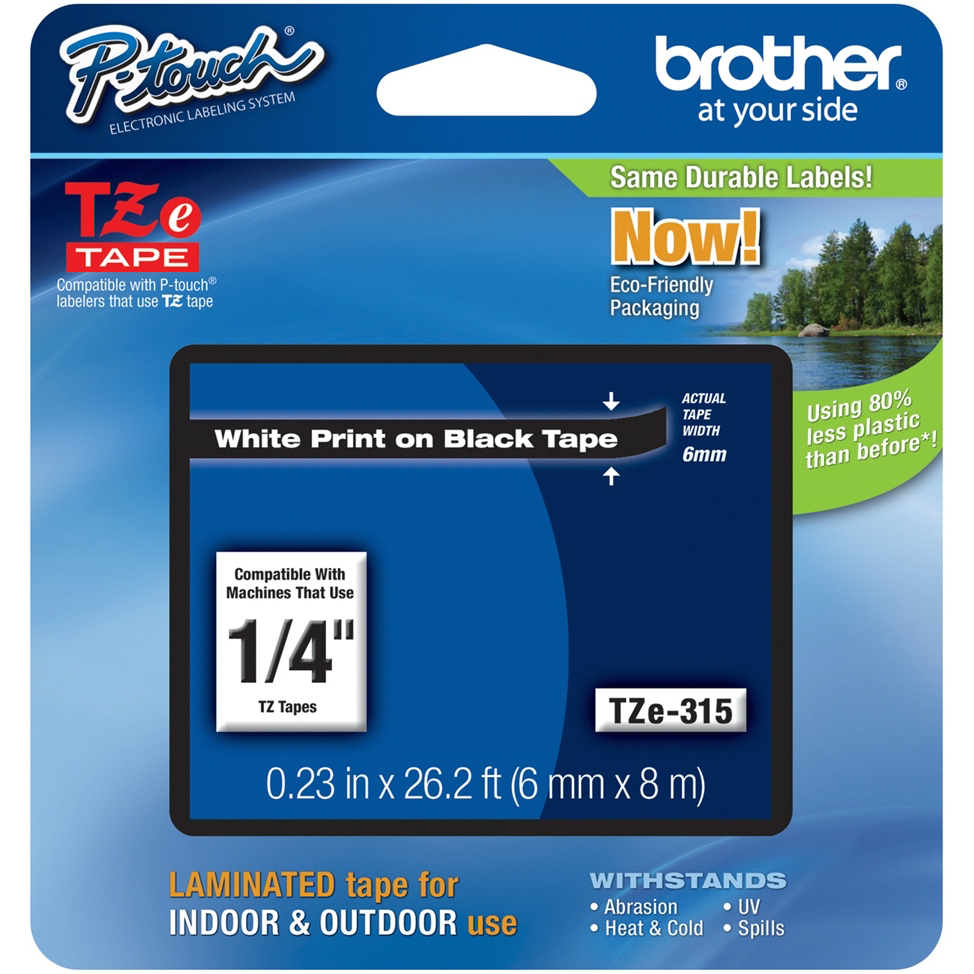 Original Brother TZe-315 White On Black 6mm x 8m Laminated P-Touch Label Tape (TZE315)