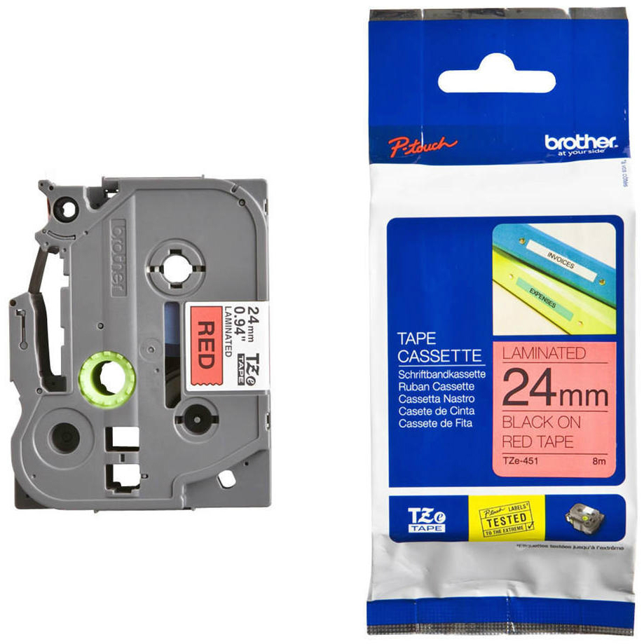 Original Brother TZe-451 Black On Red 24mm x 8m Laminated P-Touch Label Tape (TZE451)