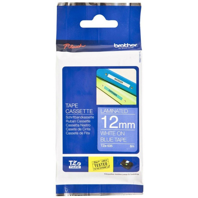 Original Brother TZe-535 White On Blue 12mm x 8m Laminated P-Touch Label Tape (TZE535)