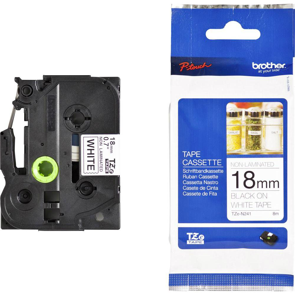 Original Brother TZe-N241 Black On White 18mm x 8m Non-Laminated P-Touch Label Tape (TZEN241)