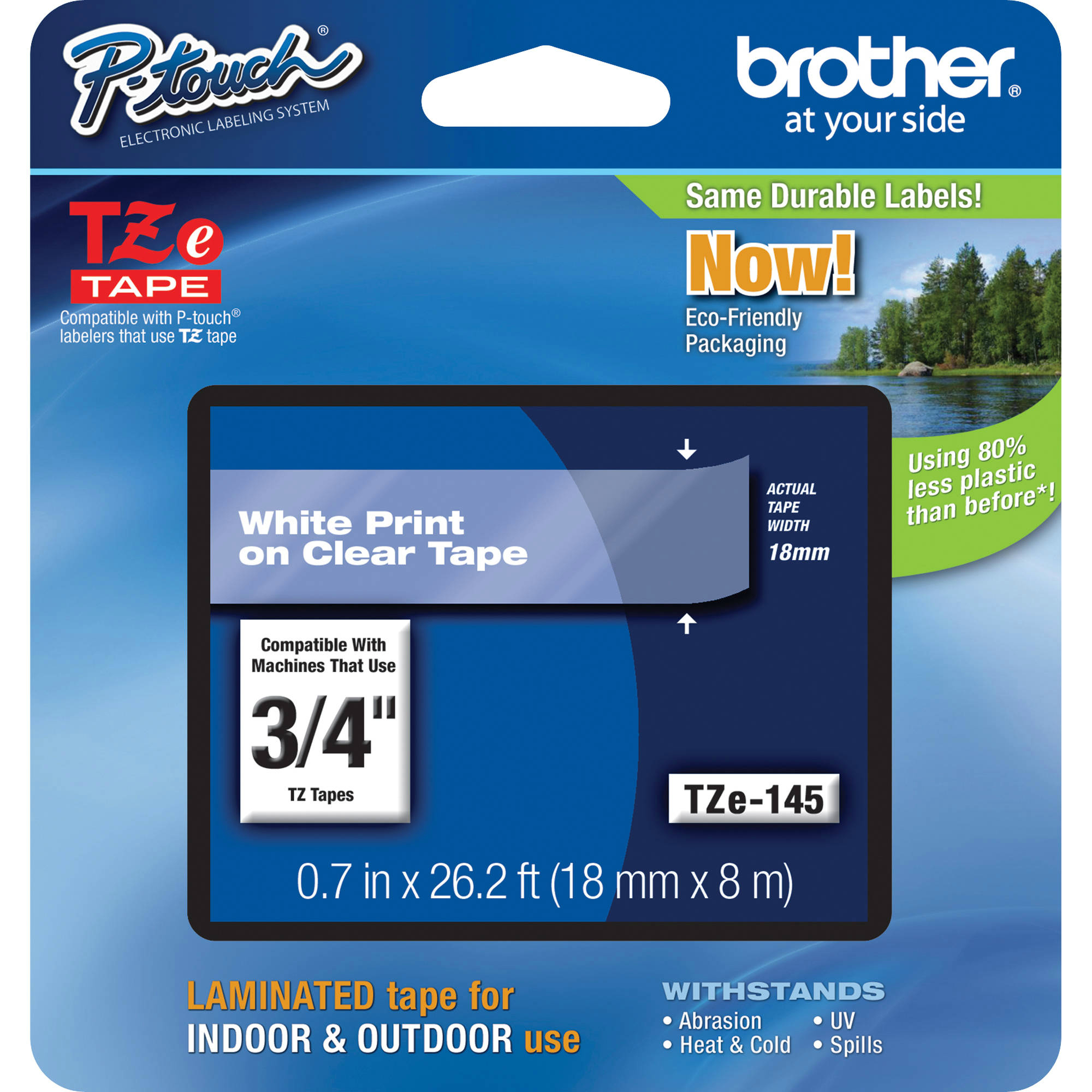Original Brother TZE145 White On Clear 18mm x 8m Laminated P-Touch Label Tape (TZE145)