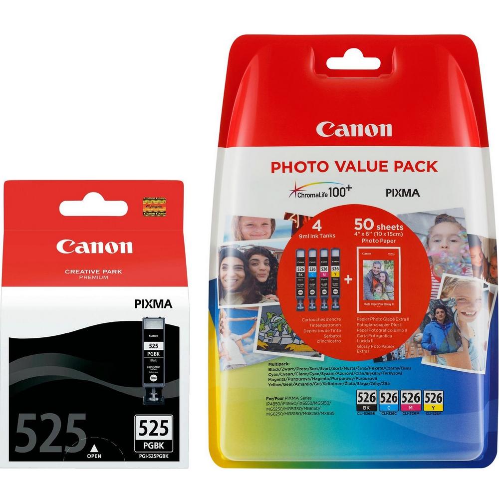 Original Canon PGI-525PGBK / CLI-526 C, M, Y, K Multipack Ink Cartridges & Paper (4529B001 / 4540B017)