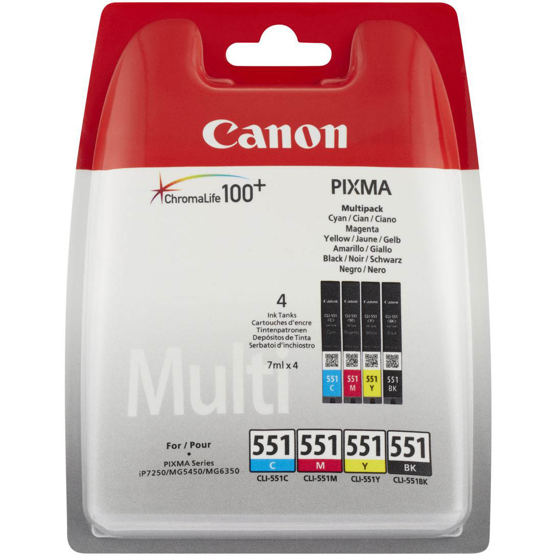 Original Canon CLI-551 CMYK Multipack Ink Cartridges (6509B009)