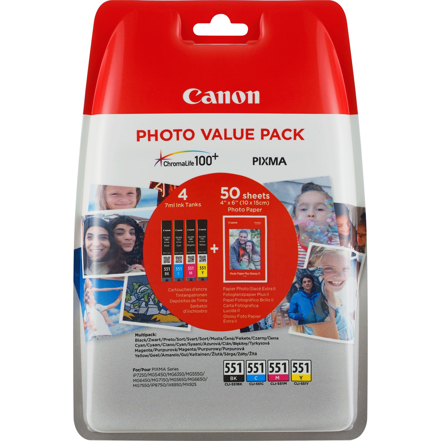 Original Canon CLI-551 CMYK Multipack Ink Cartridges & Paper (6508B005)
