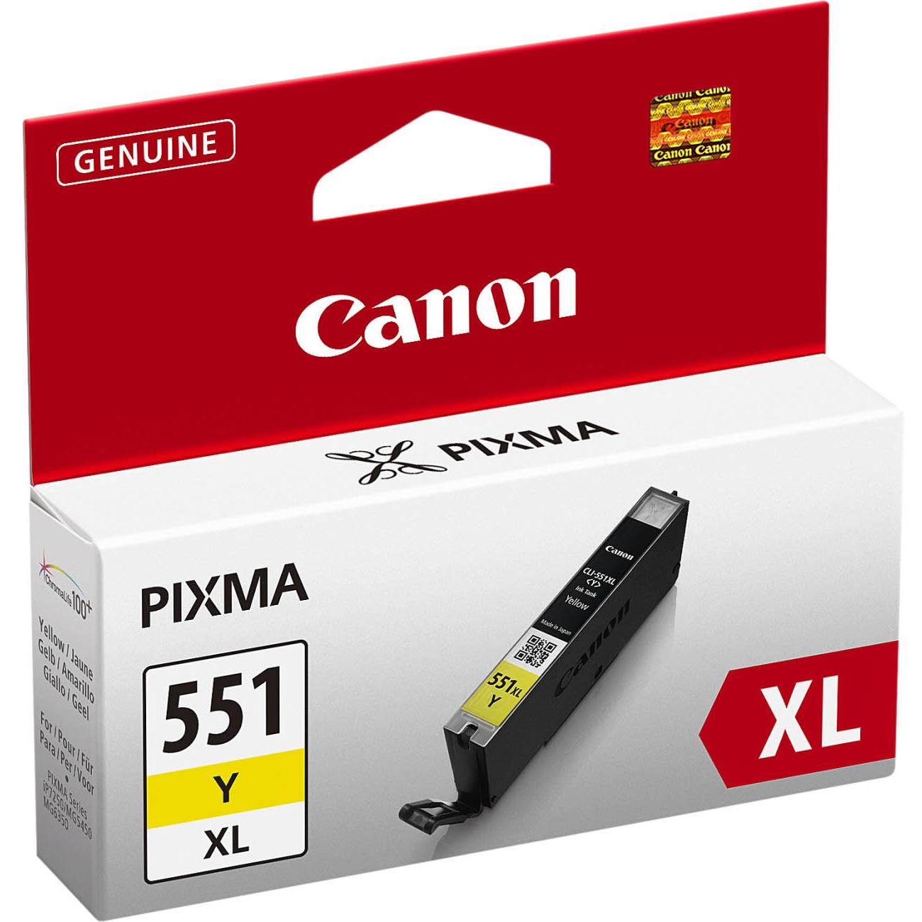 Original Canon CLI-551YXL Yellow High Capacity Ink Cartridge (6446B001)