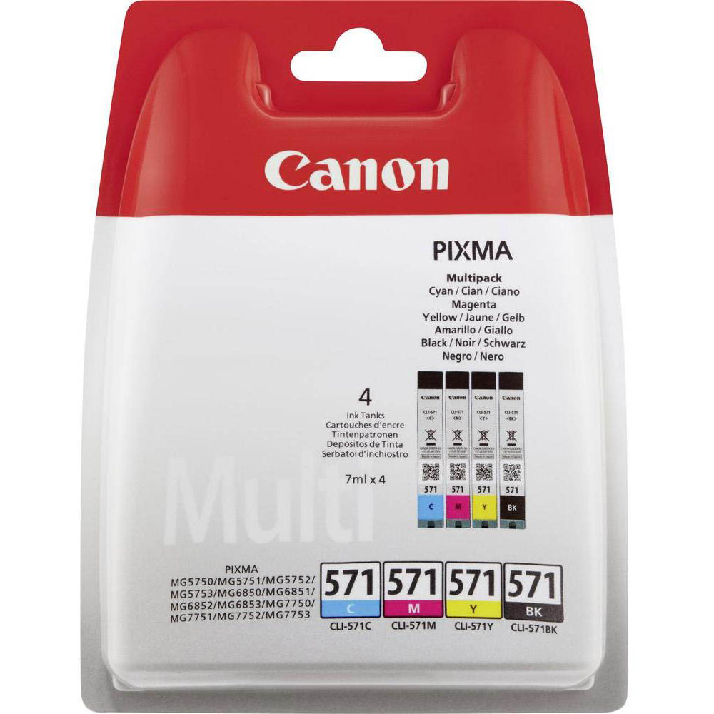 Original Canon CLI-571 CMYK Multipack Ink Cartridges (0386C005)