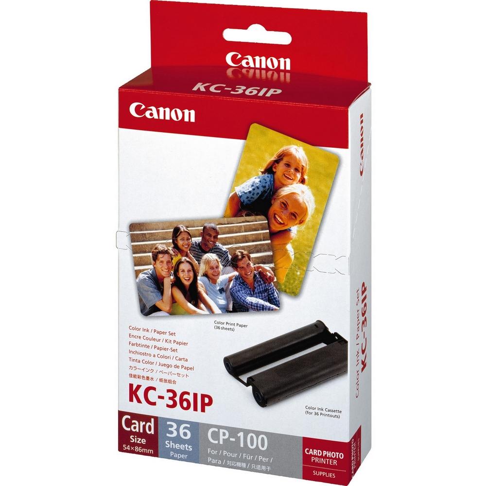 Original Canon KC-36IP Colour Ink Cartridge + Photo Paper (7739A001AH)