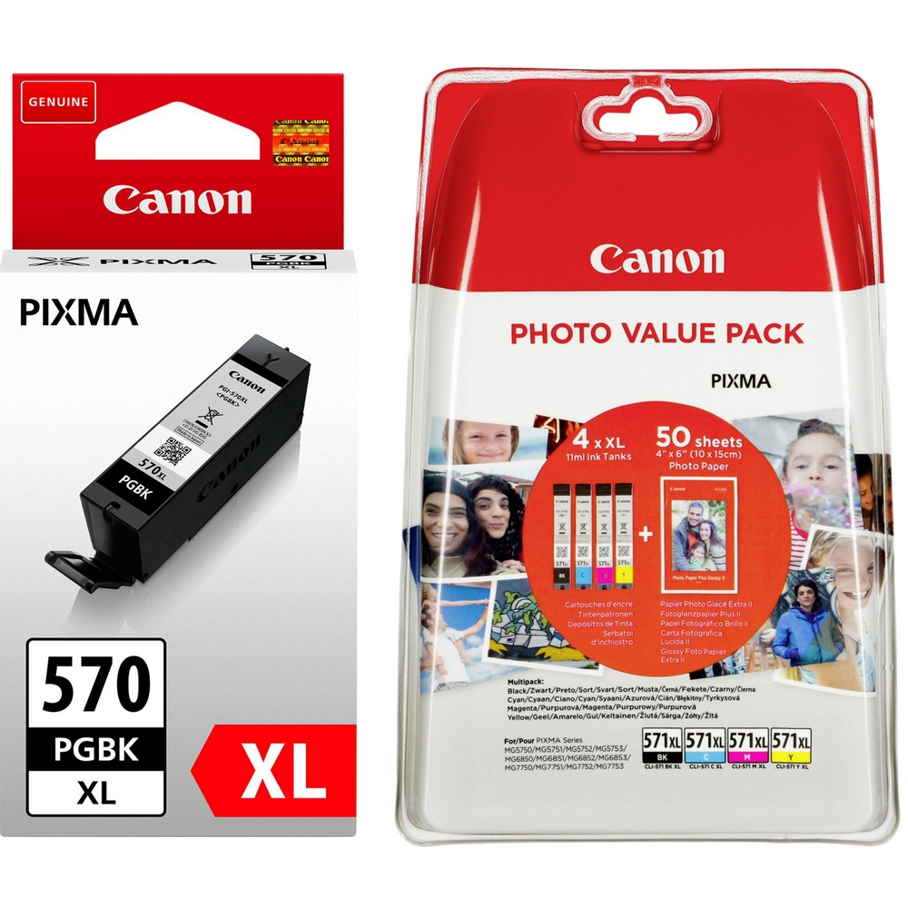 Original Canon PGI-570PGBKXL / CLI-571XL C, M, Y, K Multipack High Capacity Ink Cartridges & Paper (0318C001 / 0332C005)