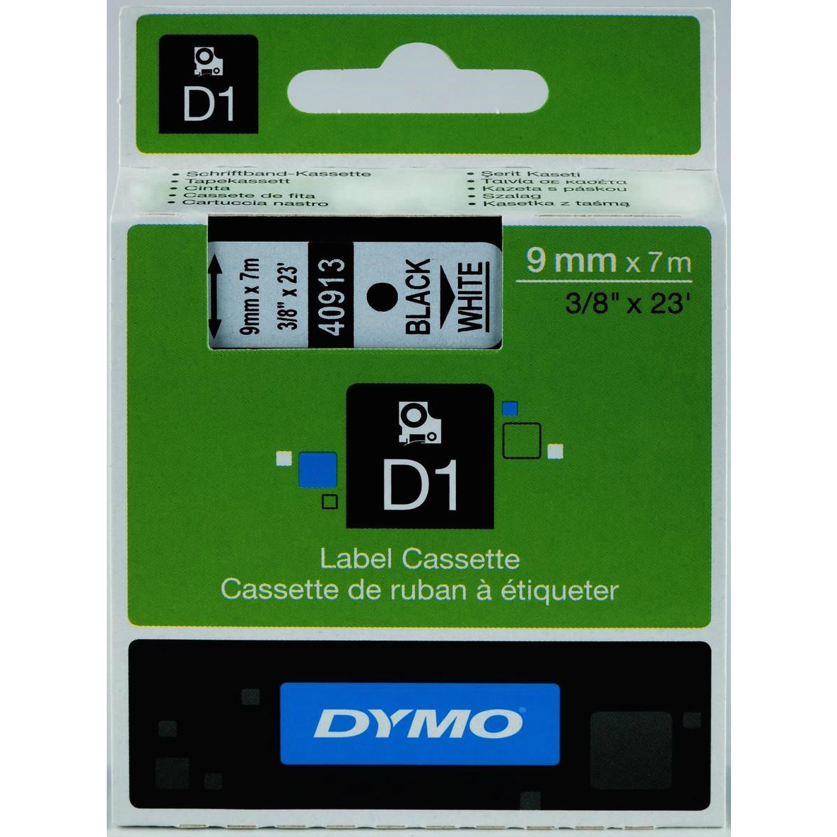 Original Dymo 40913 Black On White 9mm x 7m D1 Label Tape (S0720680)