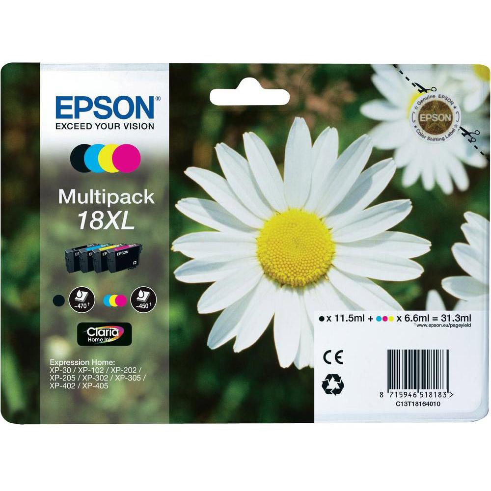 Original Epson 18XL CMYK Multipack High Capacity Ink Cartridges (C13T18164010)