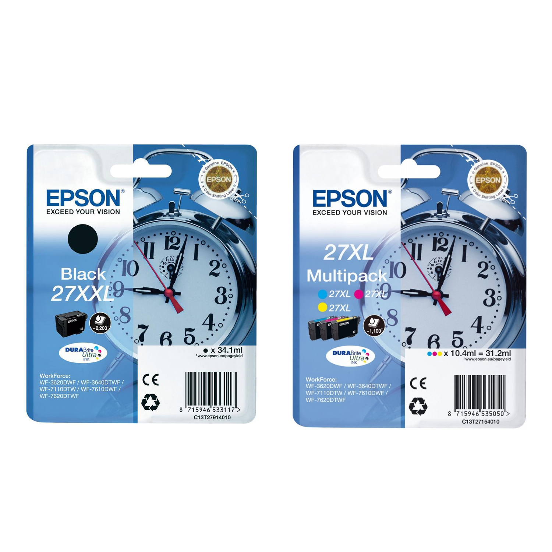 Original Epson 27XXL / 27XL CMYK Multipack Ink Cartridges (C13T27914010 / C13T27154010)