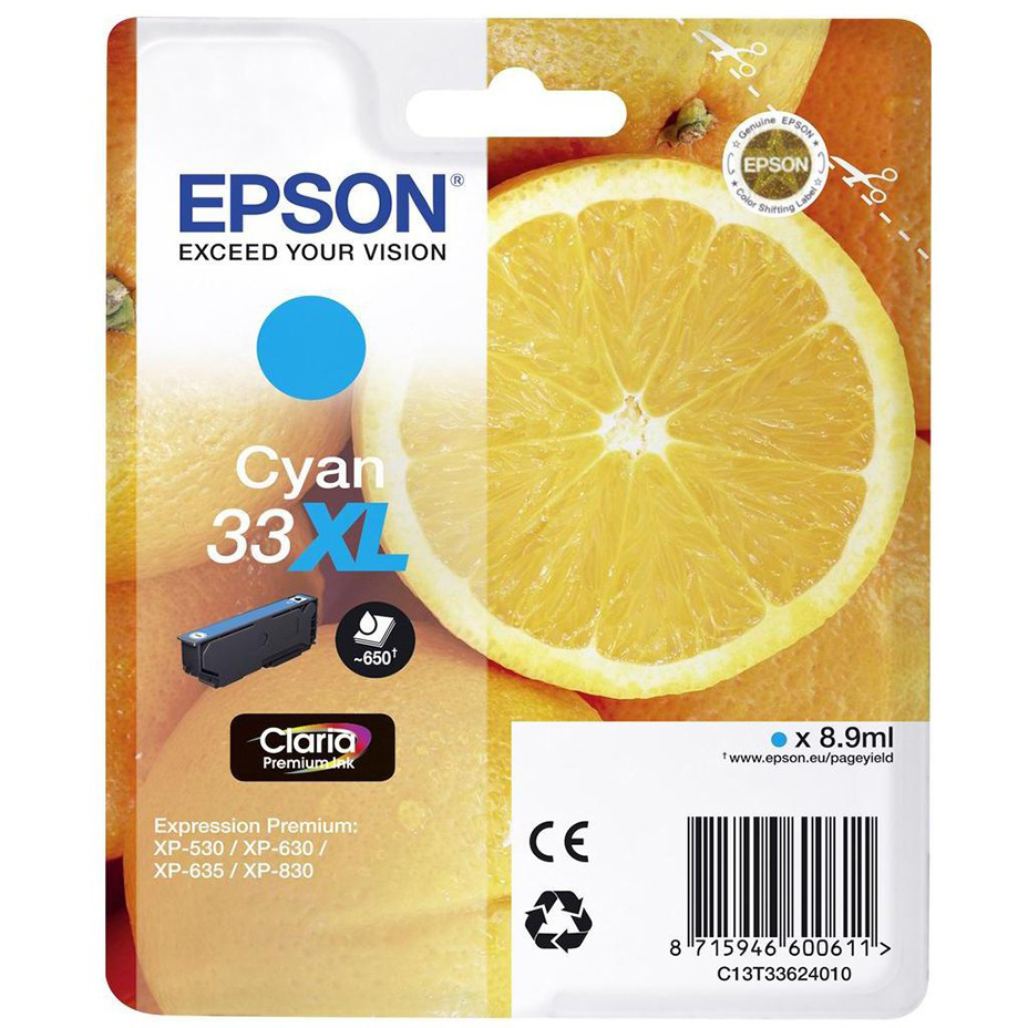 Original Epson 33XL Cyan High Capacity Ink Cartridge (C13T33624010)