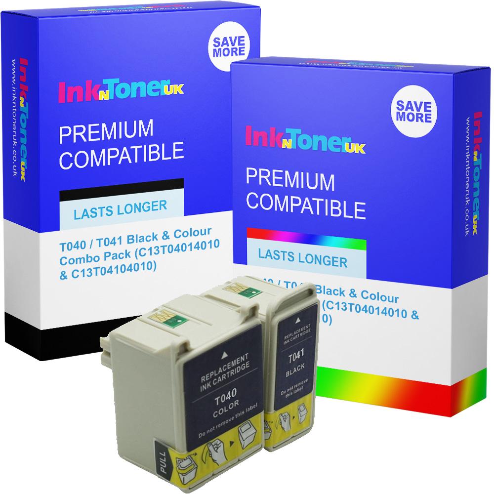 Premium Compatible Epson T040 / T041 Black & Colour Combo Pack Ink Cartridges (C13T04014010 & C13T04104010)