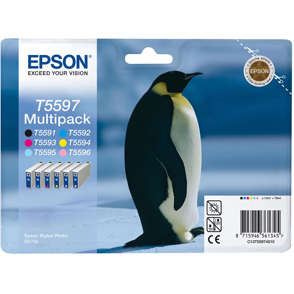 Original Epson T5597 C, M, Y, K, LC, LM Multipack Ink Cartridges (C13T55974010)