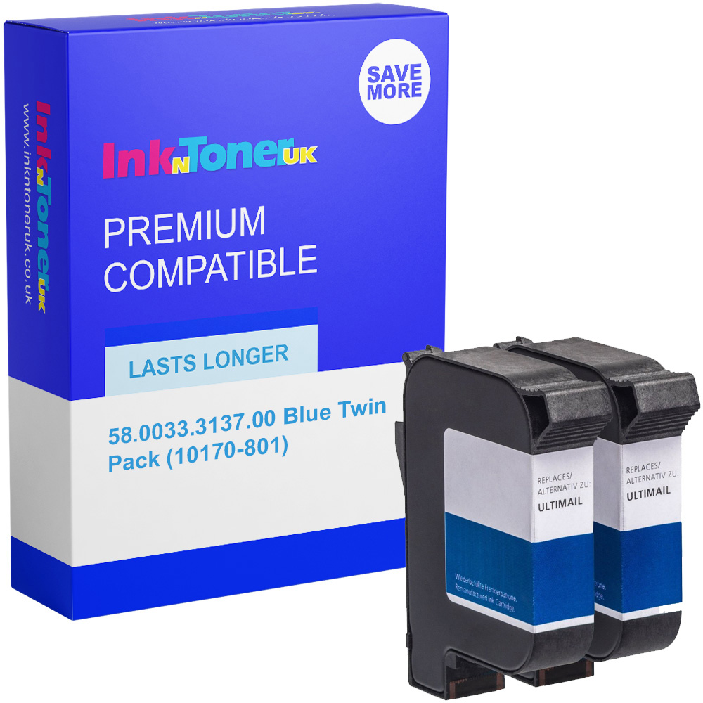 Premium Compatible Francotyp Postalia 58.0033.3137.00 Blue Twin Pack Franking Ink Cartridges (10170-801)