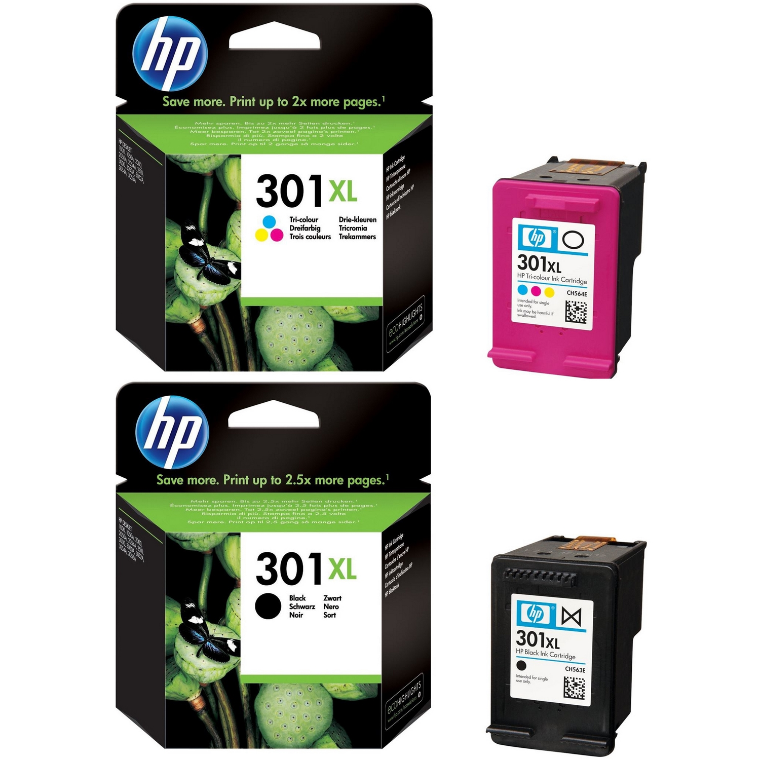 premium compatible hp 301xl black colour combo pack high capacity ink cartridges ch564ee. Black Bedroom Furniture Sets. Home Design Ideas