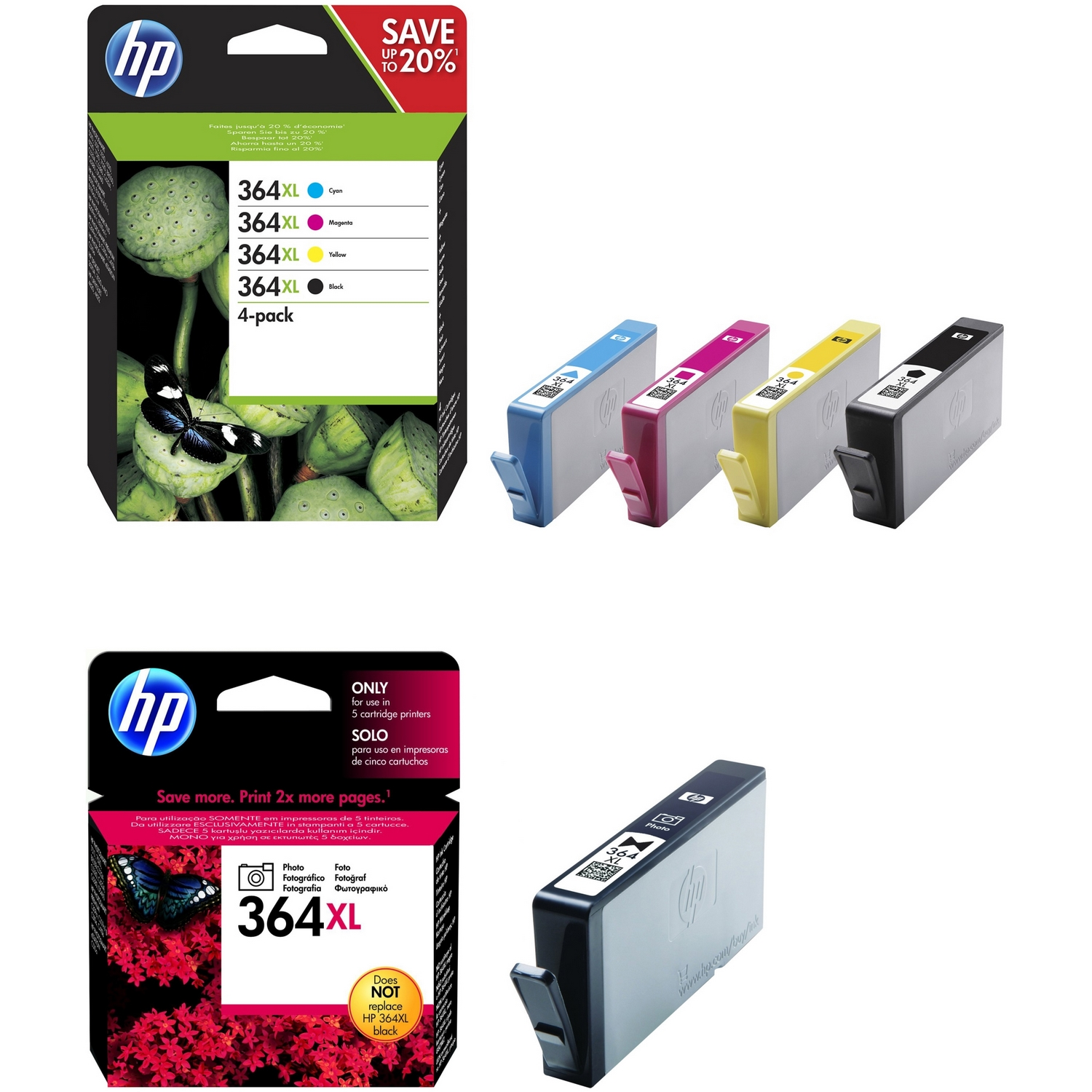 original hp 364xl cmyk multipack high capacity ink. Black Bedroom Furniture Sets. Home Design Ideas