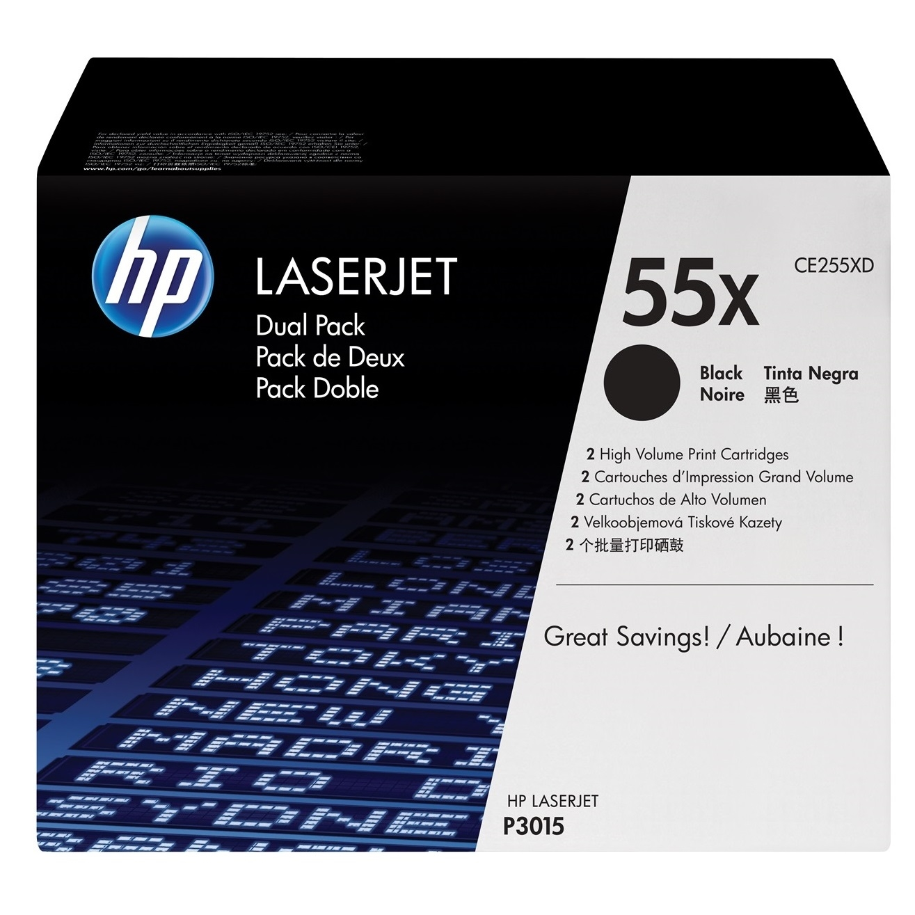 Original HP 55X Black Twin Pack High Capacity Toner Cartridges (CE255XD)
