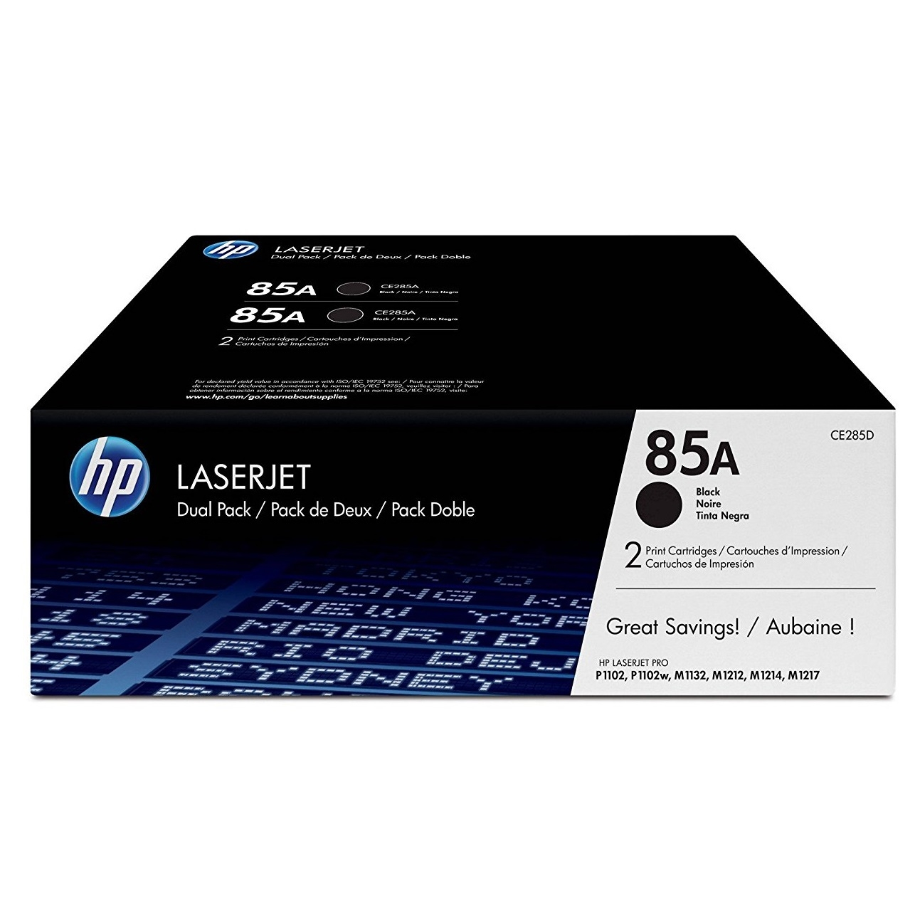 Original HP 85A Black Twin Pack Toner Cartridges (CE285AD)