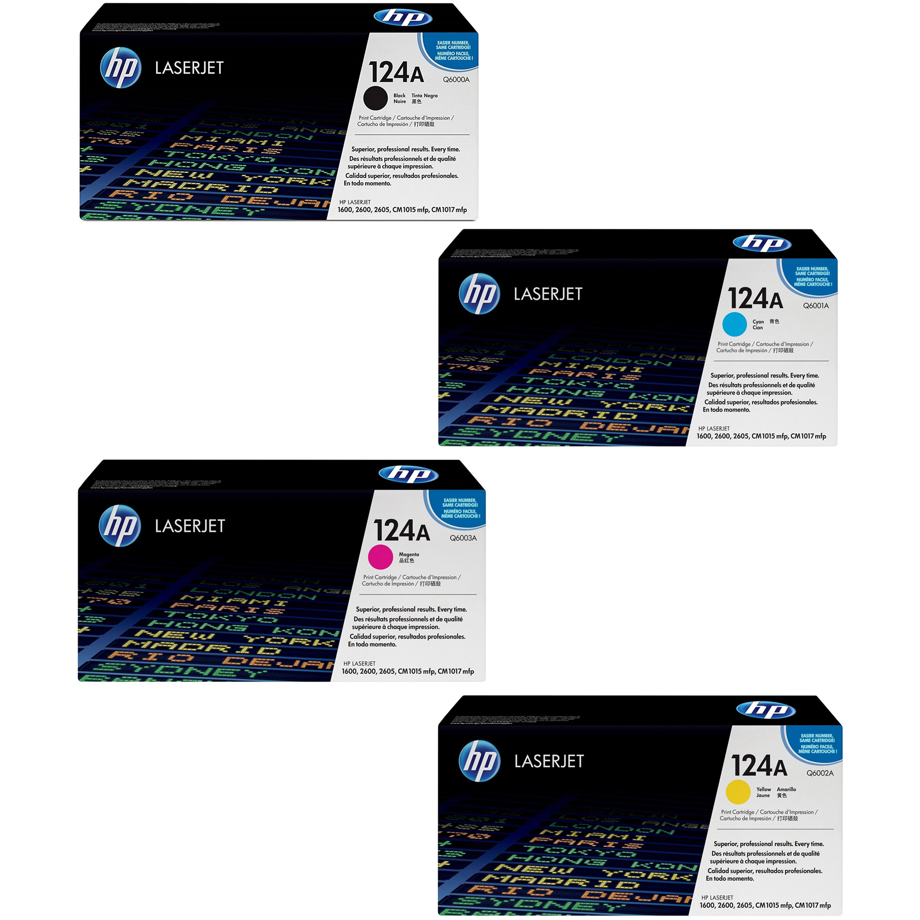 Original HP 124A CMYK Multipack Toner Cartridges (Q6000A/ Q6001A/ Q6002A/ Q6003A)