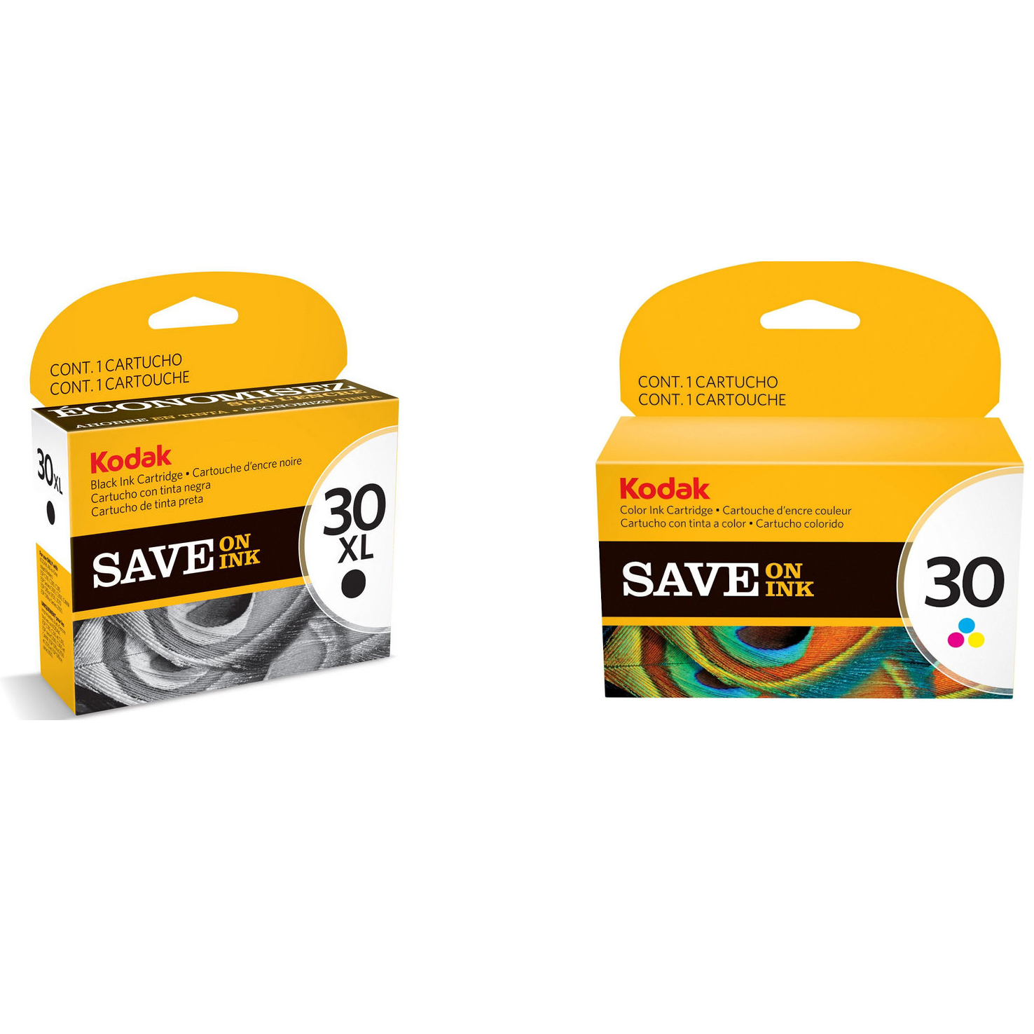 Original Kodak 30XL / 30 Black & Colour Combo Pack Ink Cartridges (3952363 & 8898033)