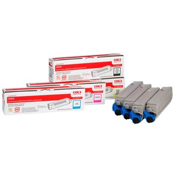 Original OKI 43698501 Rainbow Pack (CMYK Multipack) Toner Cartridges (43698501)