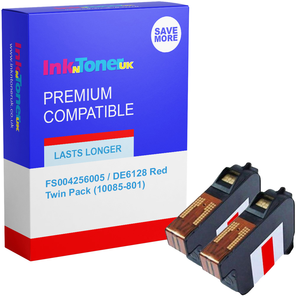 Premium Remanufactured Pitney Bowes FS004256005 / DE6128 Red Twin Pack Franking Ink Cartridges (10085-801)